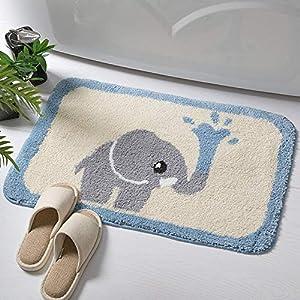IcosaMro Bathroom Rugs Grey Elephant Bath Rug for Bathroom Non-Slip Soft Absorbent Machine-Washable, Shower Bathroom Decor Bath Mat for Kids Women Men, 16x24 Inch Blue and Beige
