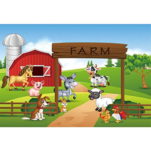 DORCEV 5x3ft Cartoon Farm Photography Backdrop Funny Animals Farm Party Theme Kids Birthday Background Red House Barn Green Lawn Sheep Chicken Pig Dog Party Banner Kids Portrait Photo Studio Prop