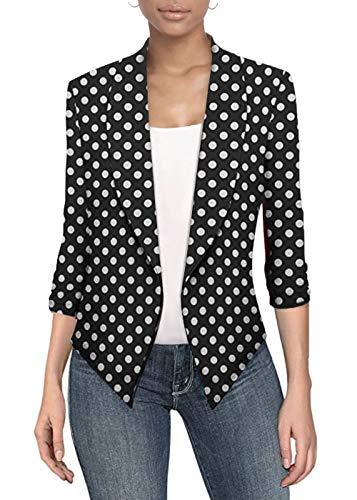 Womens Casual Work Office Open Front Blazer JK1133X 10477 Black/Whit 1X