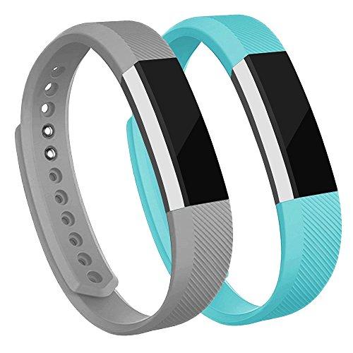 Adepoy Ersatzarmbänder kompatibel für Fitbit Alta/Alta HR, verstellbare Sport Smartwatch Fitness Armband für Frauen Männer Grau Türkis Klein