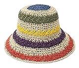 GEMVIE - Sombrero de Paja Mujer para Playa Transpirable Sombreros del Sol con Visera Estilo Mexicano Colorido Pamela al Aire Libre