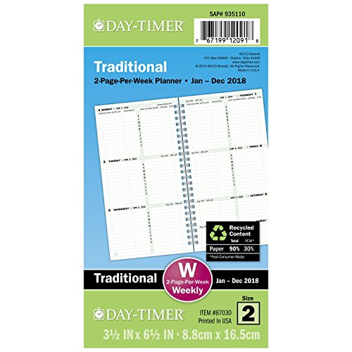 """Day-Timer Refill 2018, Two Page Per Week, January 2018 - Decemer 2018, 3-1/2"""" x 6-1/2"""", Wirebound, Pocket Size (87030-1801)"""