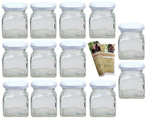 Flaschendiscount 15er Set Leere eckige Einmachgläser Quadrat 120 ml incl. Drehverschluss Weiß, Vorratsgläser, Marmeladengläser, Einkochgläser, Gewürzgläser, Einweckgläser