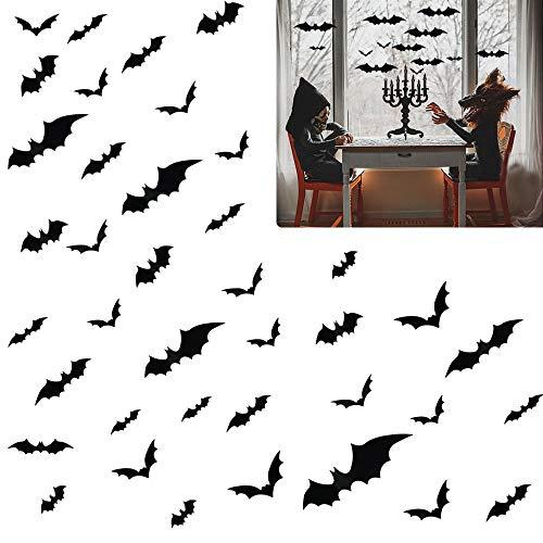 CODIRATO 72 Pièces Autocollants de Chauve-Souris 3D en PVC Halloween Chauve-Souris Noire Sticker Effrayant Stickers Muraux Décoration Halloween avec 4 Tailles pour Bricolage de Fête d'halloween
