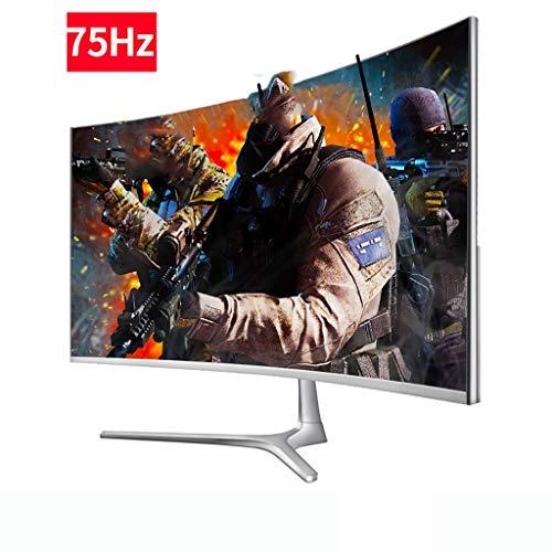 LQ Monitor 24-Zoll-Monitor 144hz Spiel, Gekrümmter Hochauflösendes Augenschutz Computer-Bildschirm, Schmalkante Desktop LCD-Monitor, Wand-178-Grad-Weitbetrachtungswinkelmonitor (Color : A)
