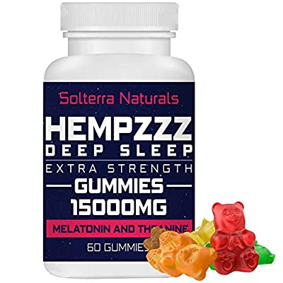 HempZZZ DEEP Sleep Extra Strength Gummies 15000 MG | with Melatonin and Theanine! Relaxation, Anxiety, Stress, Pain and Sleep Relief | Hemp Extract Gummy Bears from Solterra Naturals
