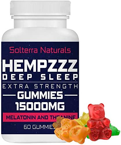 HempZZZ DEEP Sleep Extra Strength Gummies 15000 MG with Melatonin and Theanine Relaxation Anxiety product image