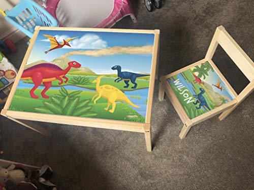 MakeThisMine Mesa infantil personalizada y 1 silla Ikea LATT con nombre de madera grabado dinosaurio DIno1 T-rex huevo impreso juego de escritorio para niños niñas amigos niños familia