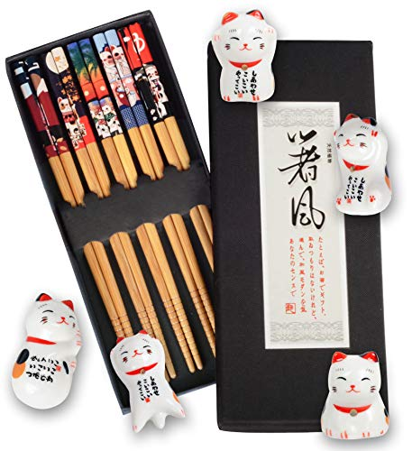 Chopsticks and Cat Chopstick Holders Set