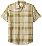 Amazon Essentials Men's Regular-Fit Short-Sleeve Linen Cotton Shirt, Olive Plaid, X-Large