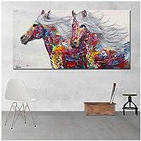 馬の落書きアートキャンバス絵画ポスターとリビングルームの動物のモダンな壁の写真を印刷