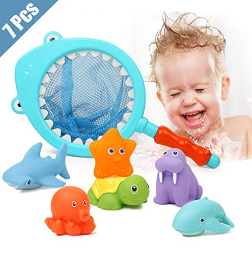 Lehoo Castle Badespielzeug Baby ab 3 jahr, Badewanne Spielzeug Kinder, Badespielzeug mit Fischernetz , 7pcs Ozean Tier Wasserspielzeug kinder