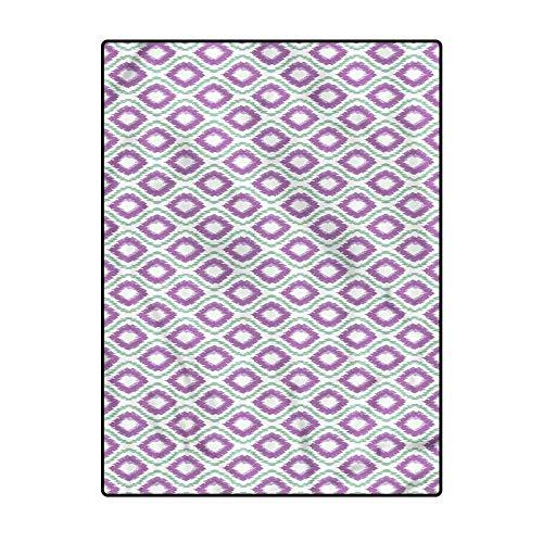 Ikat Modern Family Room Carpet Doormat for Kitchen Floor Laundry Living Room Bedroom Exotic Pattern Oval Rhombus 6 x 8.8 Ft