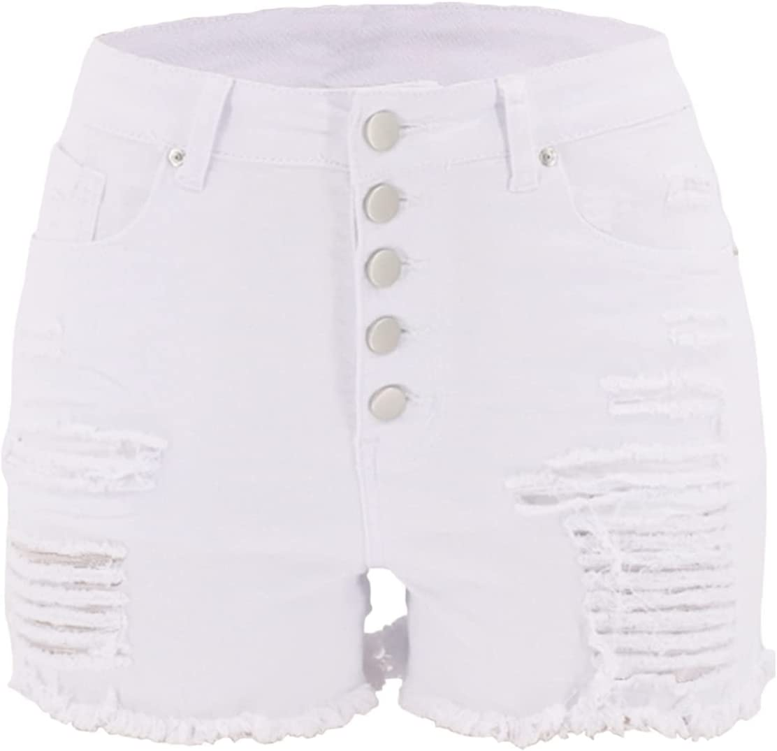 Women Ripped Multi-Button Down Denim Shorts High Waisted Distressed Hot Short Pants Stretchy Frayed Raw Hem Jeans Short (White,Small)
