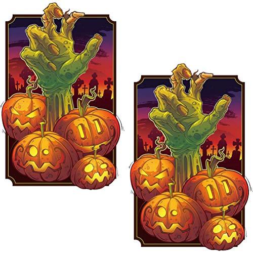 POPETPOP 2 Piezas Halloween Acuario Fondo Calabaza Zombie Ma