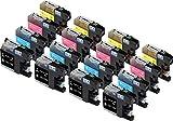 Skia Ink Cartridges Cartouche d'encre compatible pour Brother LC123 (Noir/ Cyan/ Magenta/ Jaune Pack de 16)