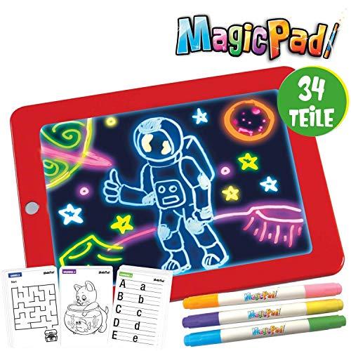 Mediashop Magic Pad | Zeichenbrett | Farbstifte mit 6 Neonfarben | Schablonen zum Ausmalen, Zeichnen, Schreiben & Rechnen | Schreibplatte | Maltafel | Das Original aus dem TV (Magic Pad)