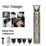 Tondeuses à cheveux électriques hommes,rasoir à barbe T-Blade Trimmer,machine coupe professionnelle rechargeable, tondeuse de précision sans fil,tondeuse à cheveux professionnelle sans fil (Bronze)