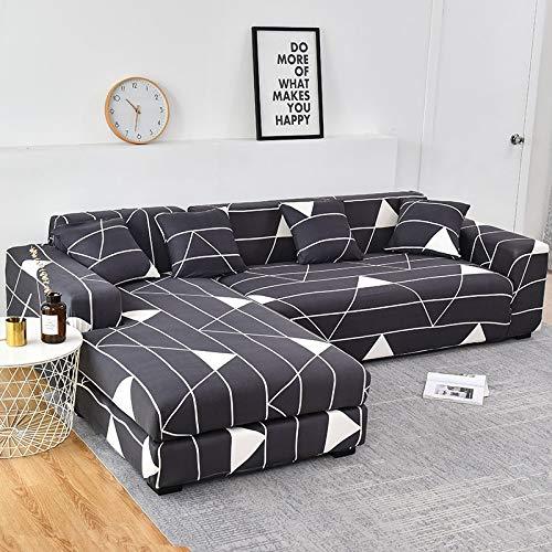 Funda de sofá elástica con Estampado Floral para el Protector de la Funda de la Silla de la Sala de Estar Compre Dos Fundas separadas para el sofá en Forma de L A8 de 1 Plaza