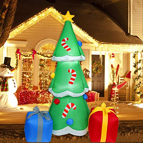 6 Ft Christmas Inflatable Tree with Multicolor Gift Boxes, Built-in Lights with Snowflake Effect, Outdoor Inflatable Christmas Decor for Yard Lawn Garden