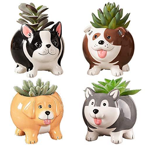 BUYMAX Animal Succulent Plant Pots, Mini Doggy Shape Succulent Planter Handmade Ceramic Plant Pot - Cute Dog Planter for Plants Flower Cactus, Home Decoration Gift - 4 Pack