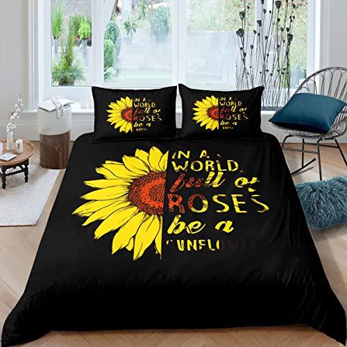 Juego de Funda nórdica de Girasol Juego de Cama de Flores Elegantes para Mujer Juego de Cama de Flores de 230x220cm Juego de Cama de Flores Negro Amarillo Ramas botánicas Diseño de 3 Piezas