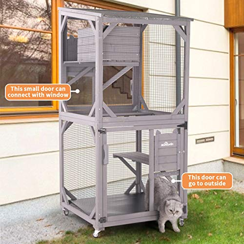 """Aivituvin Outdoor Cat House Cat Cages Enclosures on Wheels,Indoor Large Kitten Kennel 70.9"""" Upgraded Resting Box,Waterproof Roof"""
