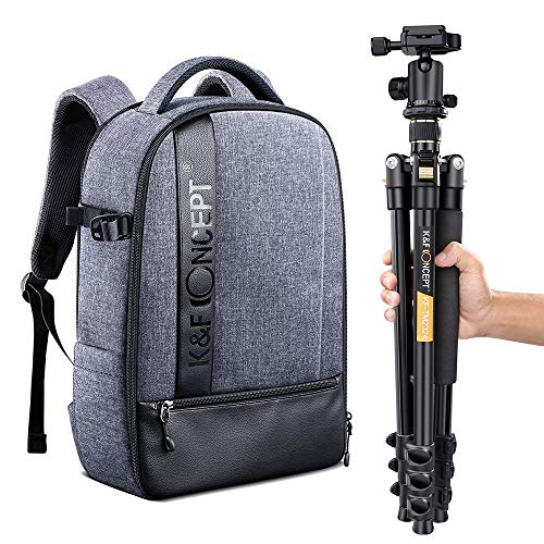 K&F Concept TM2324 62'' Lightweight Compact Camera Tripod and 14-15 inch Laptop Camera Backpack