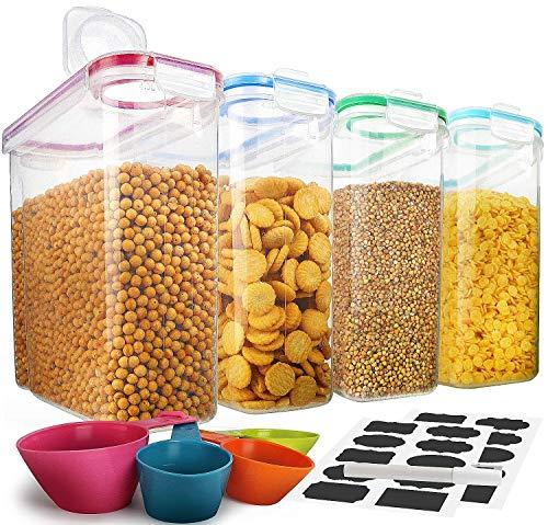 Juego de recipientes de almacenamiento de cereales, 100% herméticos, ideal para harina, azúcar, arroz y más, dispensador libre de BPA (4 unidades)