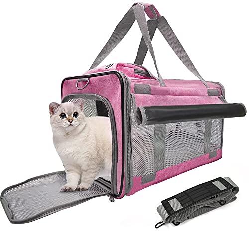 Belpro - Trasportino per gatti con 2 tende, approvato dalla compagnia aerea per cuccioli di 6,8 kg, 5 finestre in rete, 1 grande tasca per viaggiare confortevole, colore: rosa