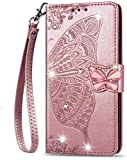 Samsung Galaxy A91 / Samsung S10 Lite 2020 Case for Girls Glitter Sparkle Phone Case 3D Gems Butterfly Shockproof Leather Wallet Flip Protective Cover Shell for Samsung A91 / S10 Lite 2020 Rose Gold