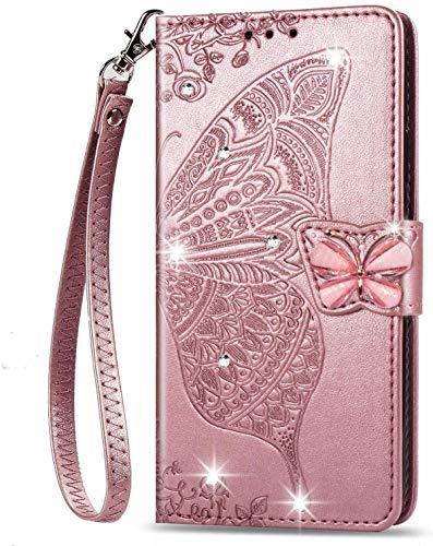 Coque Samsung Galaxy A52 pour filles Glitter Bling Phone Case 3D Gems Papillon Antichoc Cuir Portefeuille Flip Cover Shell pour Samsung Galaxy A52 Rose Gold