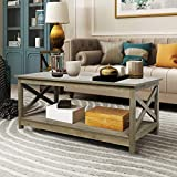 Farmhouse Modern Wood Coffee Table with 2-Tier Shelf Storage, Accent Furniture for Living Room (Washed Oak)
