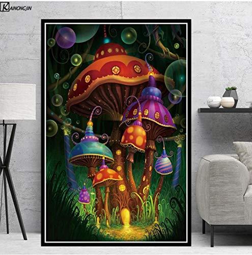 LGXINGLIyidian Poster Und Drucke Magic Mushroom Blacklight Psychedelic Poster Trippy Leinwand Gemälde Wandkunst Bild Wohnzimmer Home Decor Y957 40x50Cm