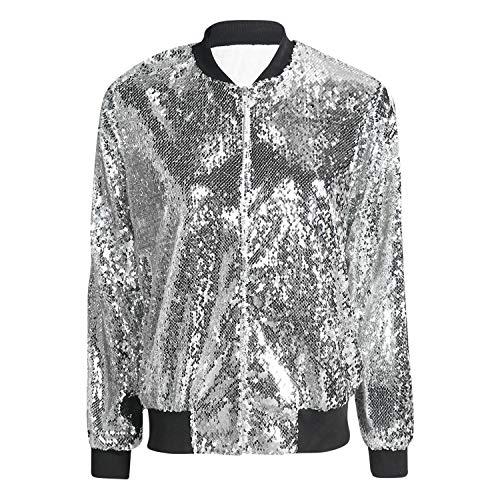 Petalum Damen Glitzer Pailletten Jacke Hiphop Langarm Bomberjacke Fliegenjacke Bikerjacke Outwear in Schwarz, Gold, Grün, Silber