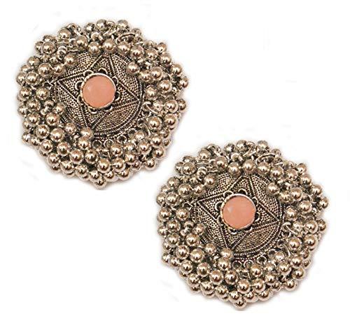 Pahal - Pendientes tradicionales oxidados de color naranja melocotón Kundan Cluster Pearl Big Silver Jhumka Pendientes de la India del Sur Bollywood Tribal Joyería para mujer