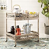 Safavieh Ambrose Bar Cart, Grey Wash and Antique Brass