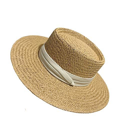AYUSHOP Sombreros de paja Panamá para mujer, sombreros de playa para mujer con un lazo, ala ancha, plegable, visera para el sol para primavera y verano, 56 ~ 58 cm