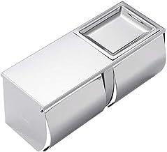 XYZMDJ Metalen toiletpapierhouder - toiletpapierhouder - roestvrijstalen toiletpapierrolhouder met plank wandmontage voor ...