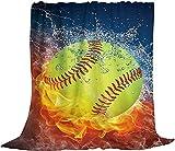 Fire Softball Fleece Sofa Blanket, Lightweight Travel Small Blanket, Flannel Baseball Throws Blankets for Baby/Kids/Youth 40x50 Inch