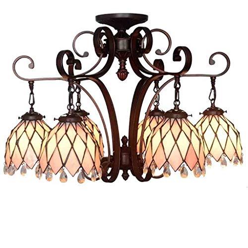 Tiffany - Lámpara de techo con 6 luces, multicolor