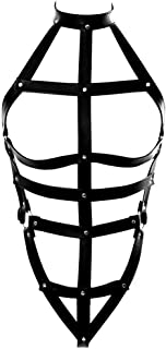 Full Body PU Harness Caged Punk Harajuku Body Leather Harness Gothic Straps Cage Bras for Women