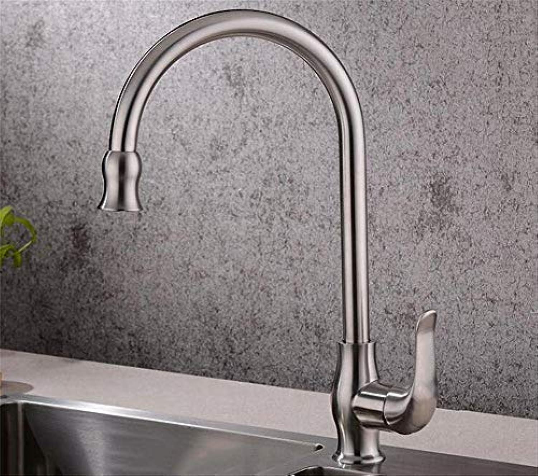 ZTMN 304 Edelstahl Küchenarmatur Warmes und kaltes Wasser Einlochmontage Rotary Küchenarmatur