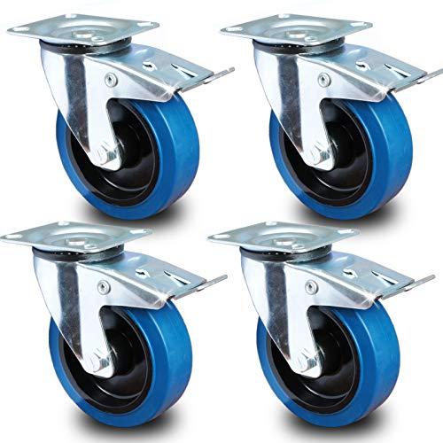 PRIOstahl® Transportrollen Lenkrolle mit Bremse blau   125mm  blue wheels   Lenkrolle mit Bremse (4 Rollen)