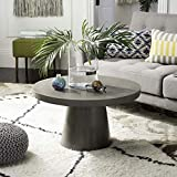 "Safavieh VNN1014A Collection Delfia Dark Grey Indoor/Outdoor Modern Concrete Round 27.56"" Coffee Table"