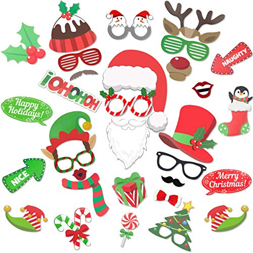 Christmas Photo Booth Props 32 Pcs Christmas Party Decorations Funny Photo Props with Sticks Christmas Games Party Favors for Adults and Kids Photobooth Party Props Holiday Accessories Supplies