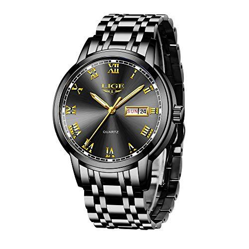 LIGE Uhren Herren Mode Edelstahl Wasserdicht Analoger Quarzuhr Auto-Kalender Geschäft Kleid Armbanduhr Maenner (Steel Black Gold)