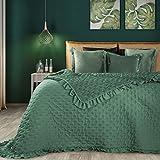 Eurofirany Romantische Tagesdecke, Steppdecke, Bettüberwurf Muster LIBI, einfarbige Überdecke, Steppung, Rüsche. (Grün, 220 x 240 cm)