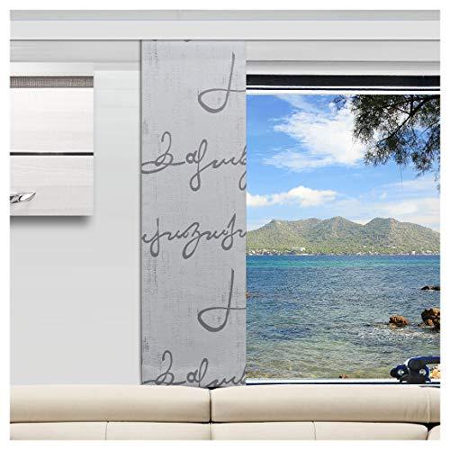 SeGaTeX home fashion Caravan-Flächenvorhang Ivo 30cm Breit | Höhe 60 –120cm Nach Maß | Grau Flächengardine für Caravan Wohnwagen Wohnmobil