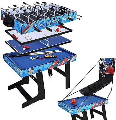 JCF Mesa Multijuegos 5 en 1 Mesa de Juego para Fútbol, Ping Pong, Hockey, Billar y Baloncesto con Patas Plegables Ideal para Fiesta